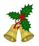 Weihnachtsglocken mit Stechpalmebeeren Lizenzfreies Stockbild