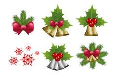 Weihnachtsglocken- und -schneeflockenvektor Stockfotografie