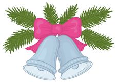 Weihnachtsglocken und -Tannenzweige Stockfoto