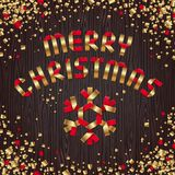 Weihnachtsgold und rote Grußauslegung Stockbilder