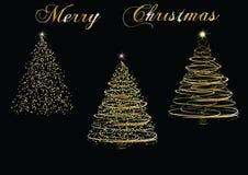 Weihnachtsgoldene Bäume Stockfotos