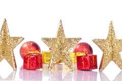 Weihnachtsgoldene Sterne Stockfotos