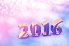 Weihnachtsgoldener Text des neuen Jahr-2016 auf dem Schnee Lizenzfreies Stockfoto