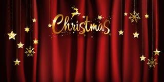 Weihnachtsgoldkalligraphie auf roter Satingewebe-Hintergrunddekoration mit dem Hängen von goldenen Sternen und von Schneeflocken  vektor abbildung