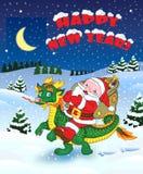 Weihnachtsgrüße mit Sankt und Drachen vektor abbildung