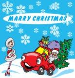 Weihnachtsgrüße mit Sankt und reizvollem Mädchen vektor abbildung