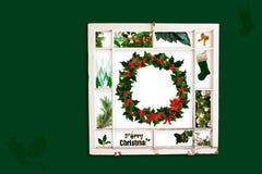 Weihnachtsgrüncollage Stockfoto