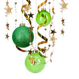 Weihnachtsgrüne Kugeln Stockbild