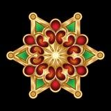 Weihnachtsgrüne rote Goldschneeflocke-Schmucksachen. vektor abbildung
