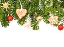 Tannenbaum Aus Plätzchen.Weihnachtsgrüner Tannenbaum Stern Plätzchen Und Kugel Stockbild