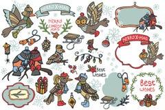 Weihnachtsgrafische Elemente, nette Karikaturvögel Stockbild
