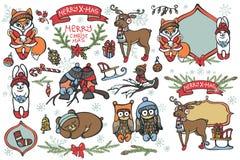 Weihnachtsgrafische Elemente, nette Karikaturvögel Stockfotos