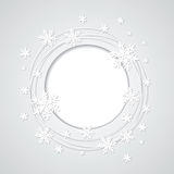 Weihnachtsgrauer Hintergrund mit Schneeflocken und plac Stockfotos