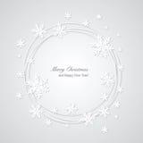 Weihnachtsgrauer Hintergrund mit Schneeflocken und plac Lizenzfreie Stockbilder
