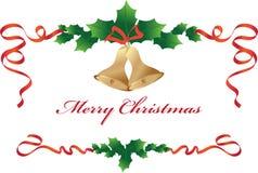 Weihnachtsgrenze mit Glocken Stockbild