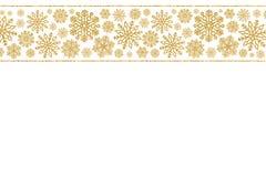 Weihnachtsgrenze mit Goldschneeflocken Grenze von Paillettekonfettis Lizenzfreie Stockfotografie
