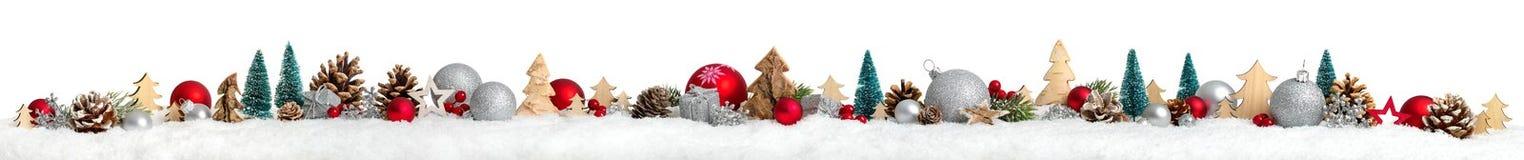 Weihnachtsgrenze oder Fahne, besonders breiter, weißer Hintergrund Stockfotografie