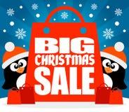Weihnachtsgroßer Verkaufshintergrund mit Pinguinvektor Stockfotografie