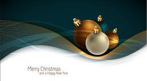 Weihnachtsgruß-Karte mit bunten Kugeln lizenzfreie abbildung