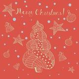 Weihnachtsgruß-Karte mit Gekritzel-Art-Gegenständen stockbilder