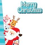 Weihnachtsgruß-Karte mit Santa Claus And Animals Stockbilder