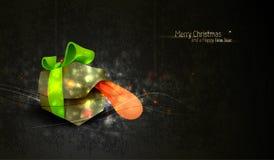 Weihnachtsgruß mit eindeutigem Geschenk-Kasten Stockfoto