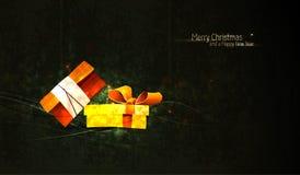 Weihnachtsgruß mit eindeutigem Geschenk-Kasten Lizenzfreies Stockfoto