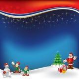 Weihnachtsgruß mit Weihnachtsmann auf einem Blau Stockbilder