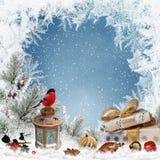 Weihnachtsgrußhintergrund mit Platz für Text, Geschenke, Dompfaff, Laterne, Weihnachtsdekorationen, Kiefer verzweigt sich Lizenzfreies Stockbild