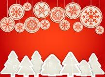 Weihnachtsgrußkarte. Abstrakte Papierspielwaren Lizenzfreies Stockfoto