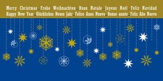 Weihnachtsgrußkarte in den verschiedenen Sprachen Stockfotografie