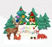Weihnachtsgrußkarte der Knetmasse-3D mit Elfe Stockfotos