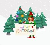 Weihnachtsgrußkarte der Knetmasse-3D mit Elfe Lizenzfreie Stockbilder
