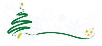 Weihnachtsgrußkarte mit Baum und Sternen Stockfoto