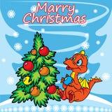 Weihnachtsgrußkarte mit Drachen und Baum lizenzfreie abbildung