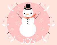 Weihnachtsgrußkarte mit einem Schneemann lizenzfreie abbildung