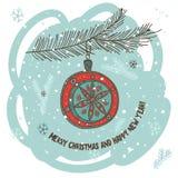 Weihnachtsgrußkarte mit Flitter und Wünschen Stockbilder