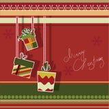 Weihnachtsgrußkarte mit Geschenkkästen Lizenzfreie Stockbilder
