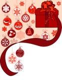 Weihnachtsgrußkarte mit Geschenkkasten Lizenzfreies Stockfoto