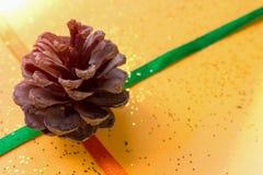 Weihnachtsgru?karte mit gl?nzendem Funkeln des Kiefernkegels und -goldes auf orange Hintergrund lizenzfreie stockfotos
