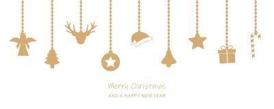 Weihnachtsgrußkarte mit hängender Dekoration auf weißem backgro lizenzfreie abbildung