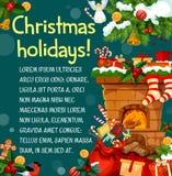 Weihnachtsgrußkarte mit Kamin und Geschenk Stockbild