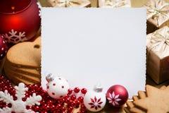 Weihnachtsgrußkarte mit Platz für Text Stockbilder