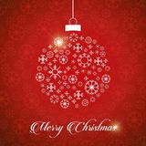 Weihnachtsgrußkarte mit roten Hintergrund Schneeflocken und chri stock abbildung
