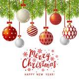 Weihnachtsgrußkarte mit roten Weihnachtsbällen lizenzfreie abbildung