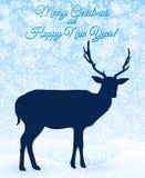 Weihnachtsgrußkarte mit Rotwild Stockfoto