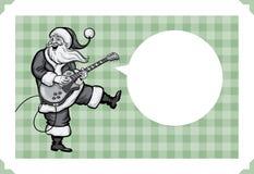 Weihnachtsgrußkarte mit Sankt, die auf E-Gitarre spielt lizenzfreie abbildung