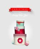 Weihnachtsgrußkarte mit Stapel von buntem Stockfoto