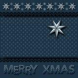Weihnachtsgrußkarte mit Sterneinklebebuch-Weinleseart vektor abbildung