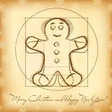 Weihnachtsgrußkarte mit vitruvian Lebkuchen Lizenzfreies Stockbild